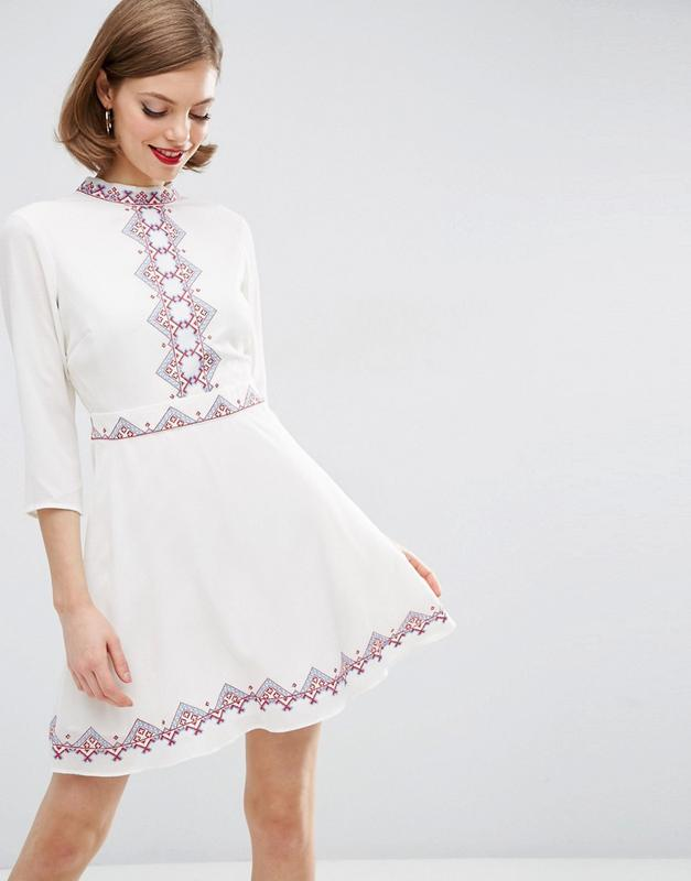 новорічний розпродаж! asos шифонова сукня з вишивкою доставка сутки1 ... f60cd33d74ae9
