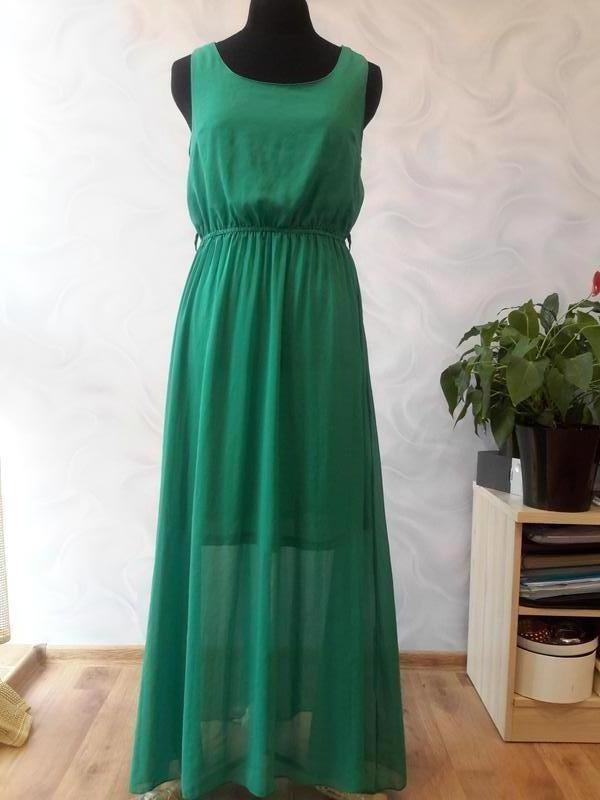 d7f9dc8c9e1 Шифоновое зеленое платье в пол1 фото ...
