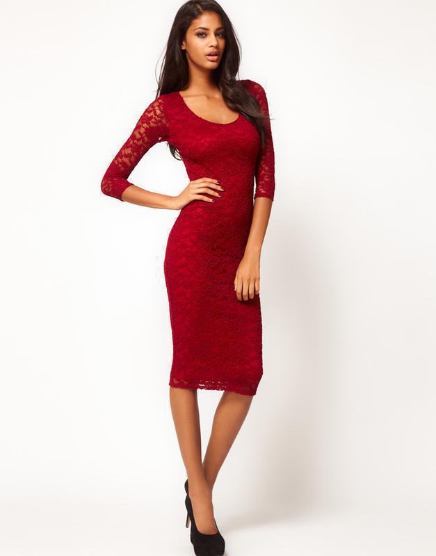 5555a4164d5 Платье asos ажурное кружевное темно-красное с круглым вырезом ASOS ...