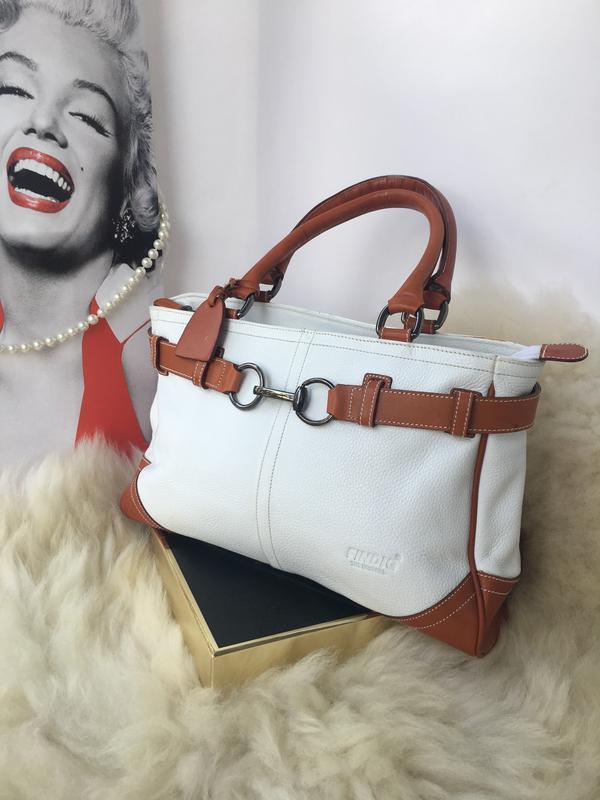 Бесподобная кожаная сумка, натуральная кожа, светлая белая с рыжым, findig1  ... c51246cc2fc