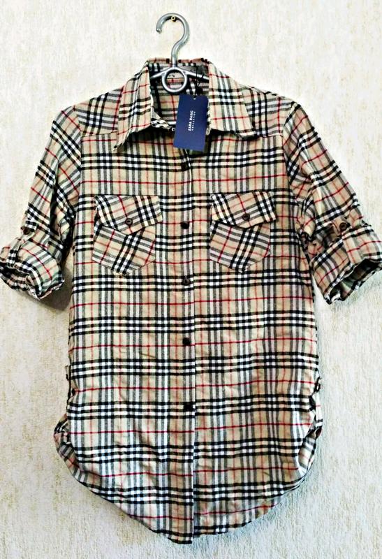 ed137e8fd9d Стильная льняная рубашка в клетку бренда zara ZARA