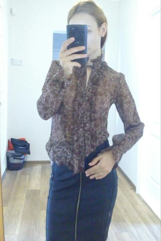 6f50470de69 Блузка с жабо блуза коричневая блузка с узором блузка прозрачная1 ...