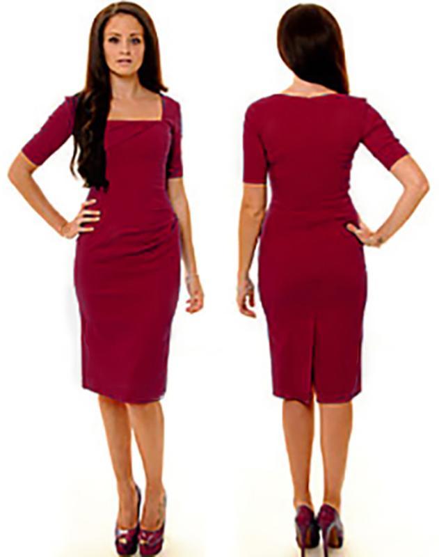 d803625bbee1683 Стильное темно красное платье по фигуре, цена - 180 грн, #14562431 ...