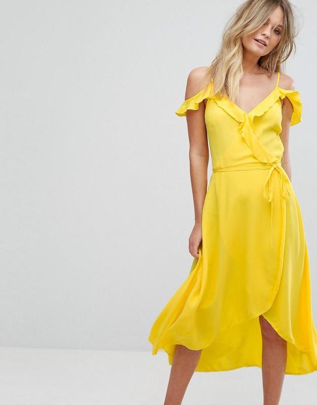 f6b3ab74531f4a0 Желтое платье на бретельках с рюшами асимметричное new look New Look ...