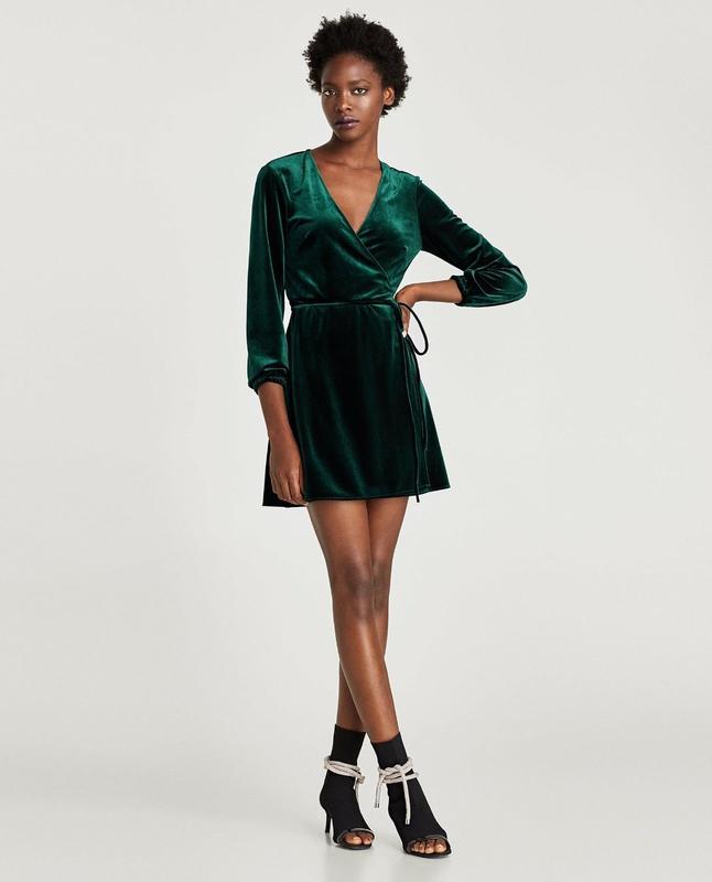 Бархатное   велюровое   изумрудное вечернее мини платье   халат на запах    сукня назапах1 ... cdd5f33f39582