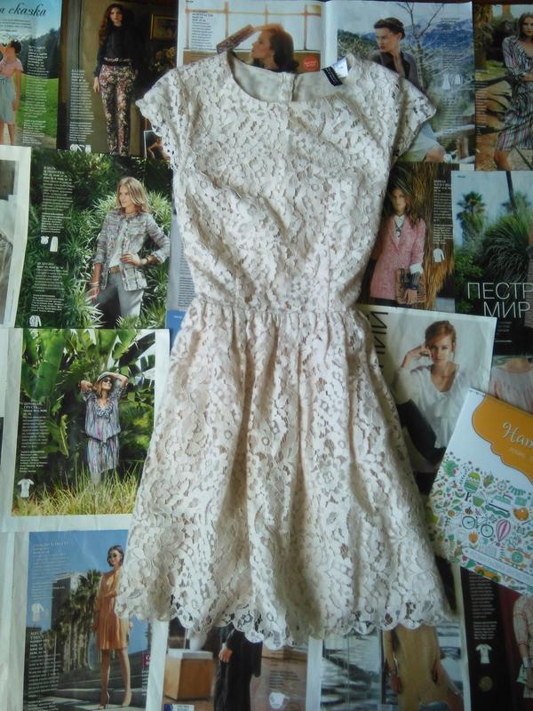 89e73c091f3a Кружевное бежевое платье h m H M, цена - 175 грн,  1703079, купить ...
