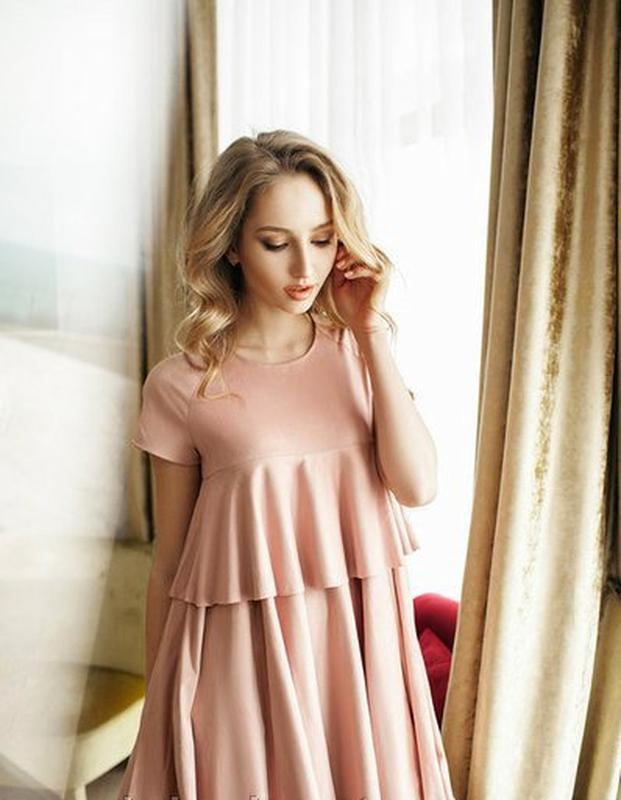 222a15d91f0ec06 ... Красивое розовое замшевое платье свободного покроя трапеция цвета  пудры3 фото ...