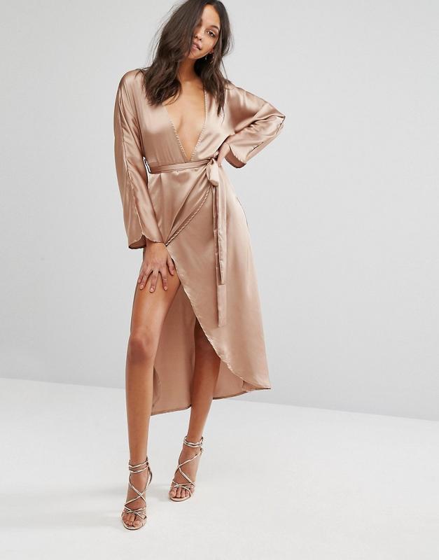 Missguided розкішна атласна сукня-халат на запах Missguided 6e622b4d28bb8
