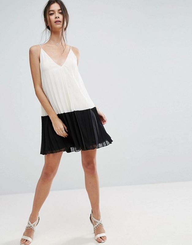 6e7c19b8595a9 Плиссированное платье мини на бретельках в стиле колор блок asos1 фото ...