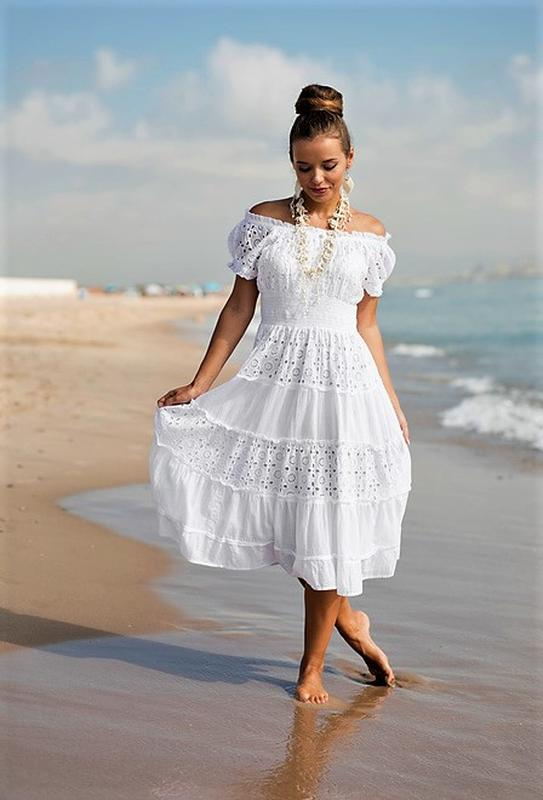 Летнее приталенное расклешенное белое платье из хлопка и прошвы с рукавом  фонарик xs s m l1 ... c998cee6287