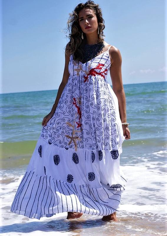 a585224cb51a79a Летний расклешенный сарафан длинный в пол пляжное платье испания бохо  вышивка 48 50 521 фото ...
