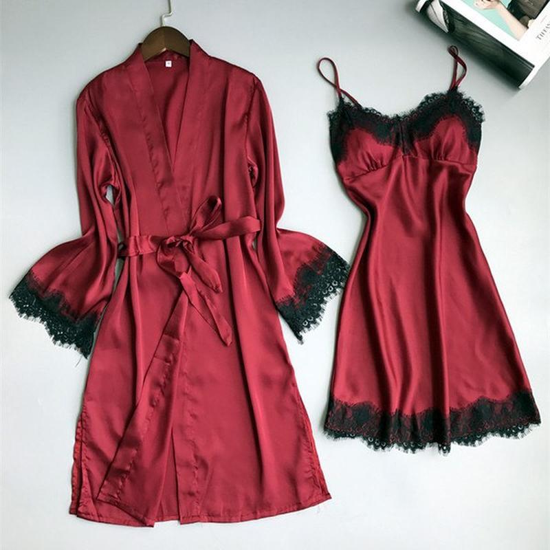 a3fab6c023e1092 Красный шелковый халат и сорочка, пенюар, ночнушка, для сна, с черным  кружевом ...