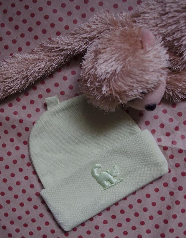 Трикотажна шапочка з котиком (салатова) Польша 8c1ec2a1ce08d