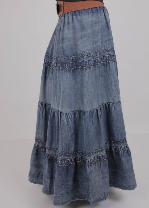 4f8f1098fcb Легкая летняя джинсовая юбка свободного кроя длинная в пол1 ...
