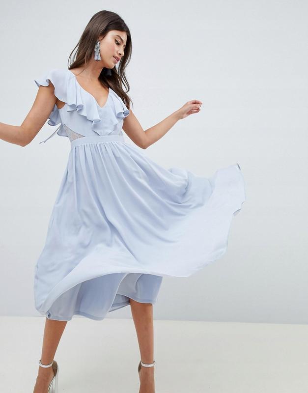 Asos чарівна блакитна сукня ажурні вставки волани ASOS a3927ab725b00