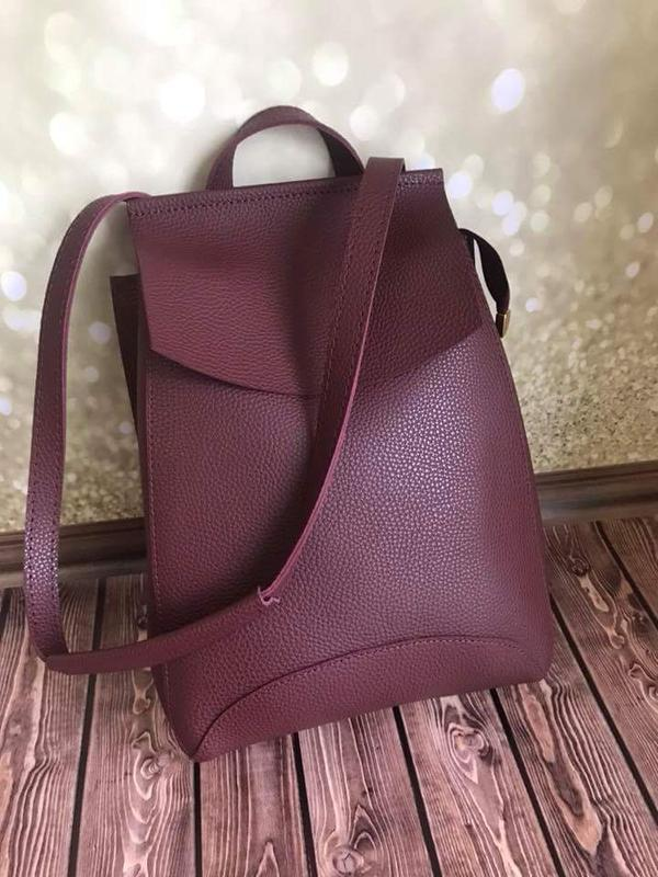 ba886a7bb156 Стильный сумка/рюкзак из качественной экокожи. бордо и беж1 фото ...