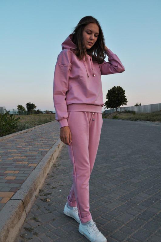 f6a5ea4f Женский спортивный костюм с капюшоном осенний розовый трикотажный1 фото ...