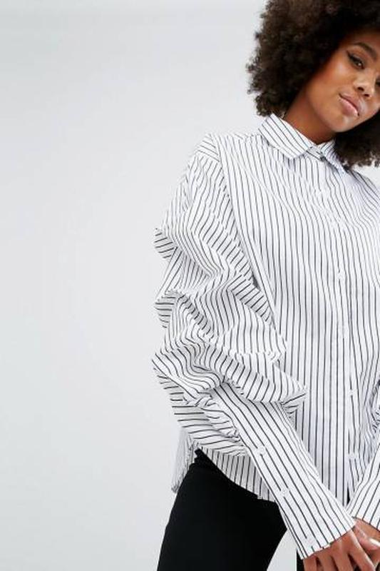 a1396de97d329cc Шикарная рубашка с манжетами и объемными рукавами оверсайз в полоску1 фото  ...