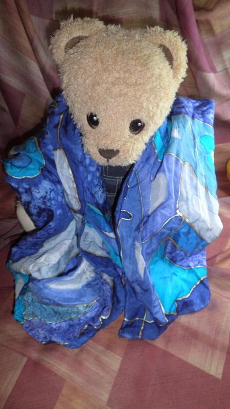 шарф платок очень яркий натуральный шелк ручная раскраска шов роуль 136x44см за 59 грн