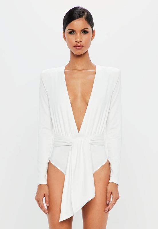 1c8dc329ce0 Белый женский боди блузка с глубоким v- образным вырезом декольте  missguided1 фото ...