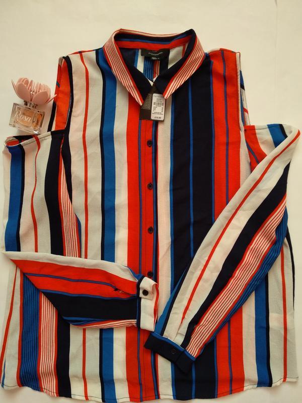 22565443e03 Трендовая рубашка в цветную полоску atmosphere открытые плечи длинные  рукава xl1 фото ...