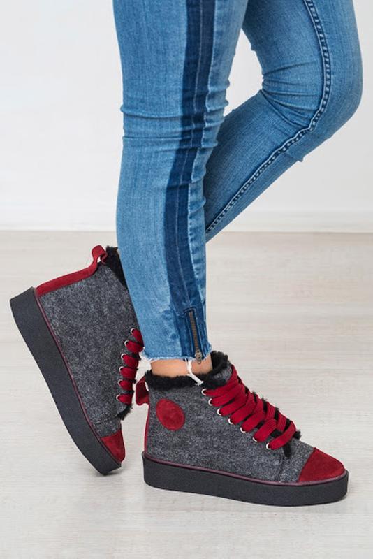 a5cdedd5a757 Зимние утепленные женские кеды ботинки из валеной шерсти за 970 грн. | Шафа