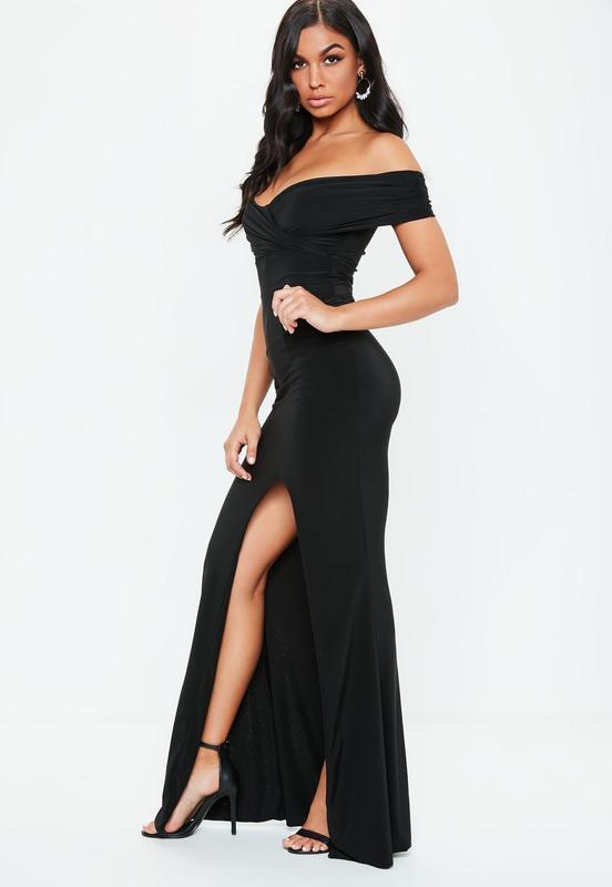 0e6f3bb82fa Роскошное вечернее платье в пол с разрезом и открытыми плечами missguided  ms1171 фото ...