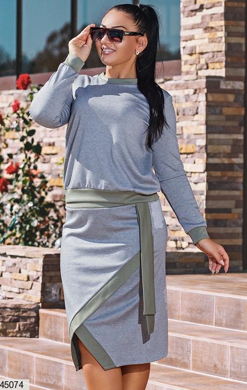 7d4ccf9d426 Стильный демисезонный женский костюм с юбкой размеры 50