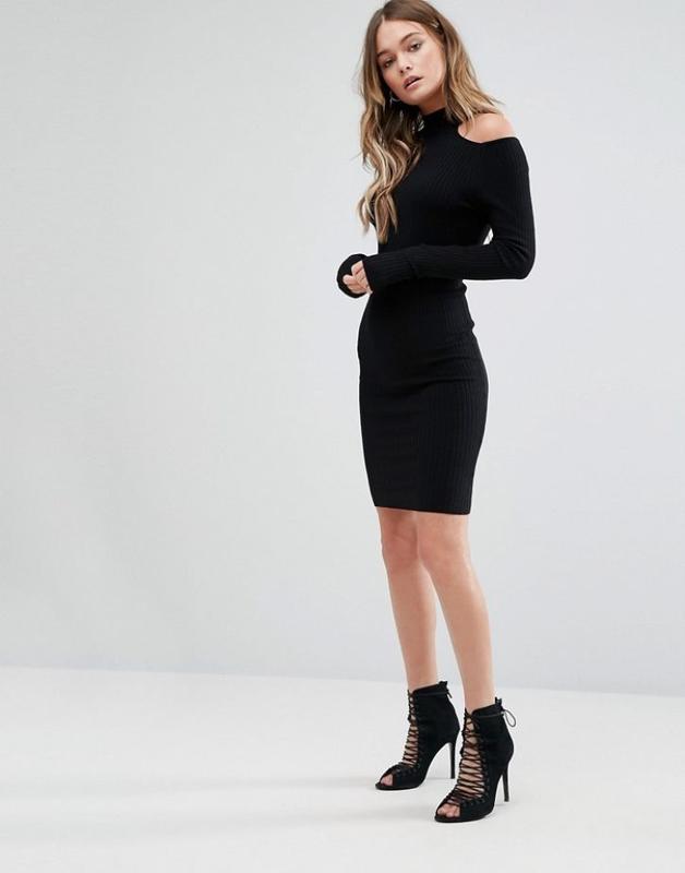 a9a96b5d88f Распродажа! тотальная ликвидация до 28.09! черное платье в рубчик new look1  ...