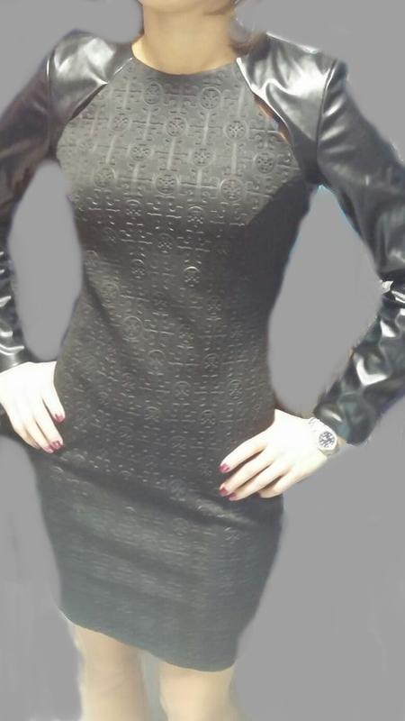 8fc4b906b3b Платье кожаное чёрное тёплое плотная ткань с длинными рукавами1 фото ...