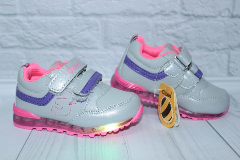 Светящиеся кроссовки для девочки тм clibee (венгрия), р. 21,22,23,24 ... 57c1c67bc98