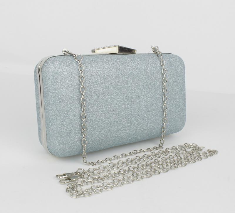 Вечерний клатч rose heart 09829 серебристо-голубой с блестками, сумочка на  цепочке1 ... 9a4f983b5fe