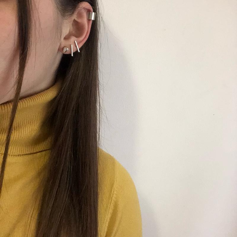 Кафф на ухо и серьги  набор  серебро и золото (много бижутерии) H M ... f03d562921794