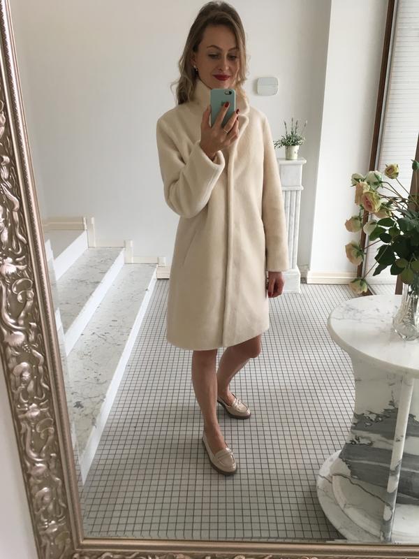 Натуральная овчина шуба пальто осень зима молочного цвета s есть размеры1  ... 99b61b04a26e5