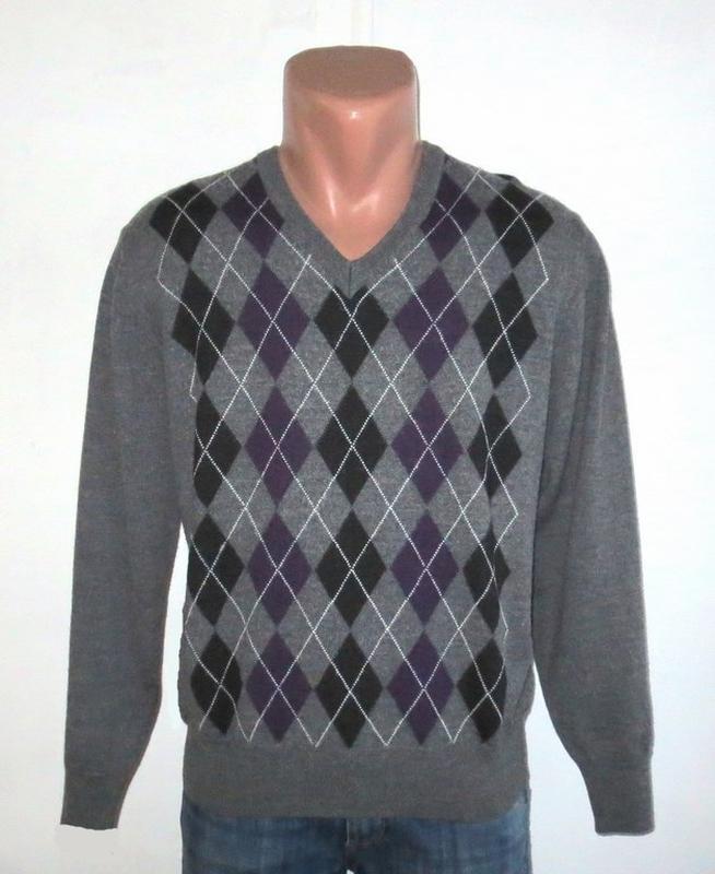 Стильный полушерстяной свитер в ромбы от armas размер  52-l b38d105ce0e33