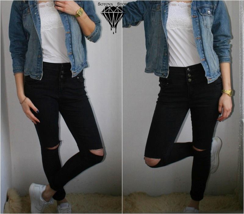 Чорні джинси з завищеною талією рвані колінка від denim co р-р 10-12 ... 9807ca8a789bb