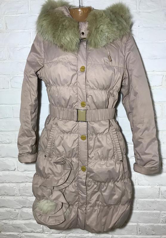 cb706366f335 Бежевый зимний пуховик, удлиненная куртка, плащ с капюшоном с мехом с  карманами vininus1 ...
