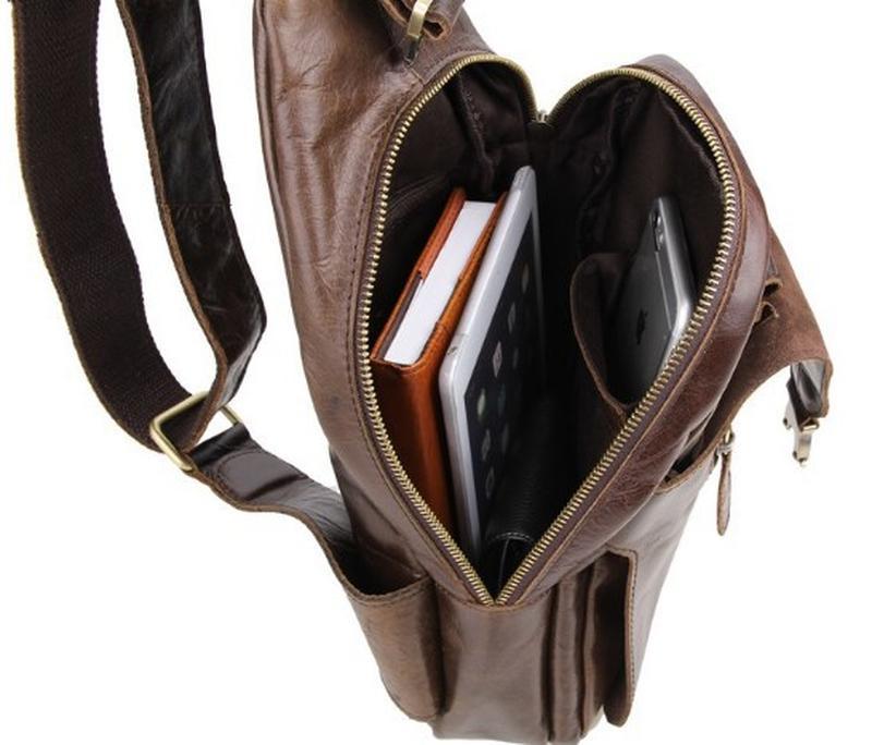 1977659f84e5 ... Стильный мужской городской кожаный мини рюкзак мессенджер коричневый  hanmade5 фото