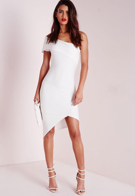 6f504839c8e9 Красивое вечернее коктейльное облегающее ассиметричное белое платье на одно  плече1 ...