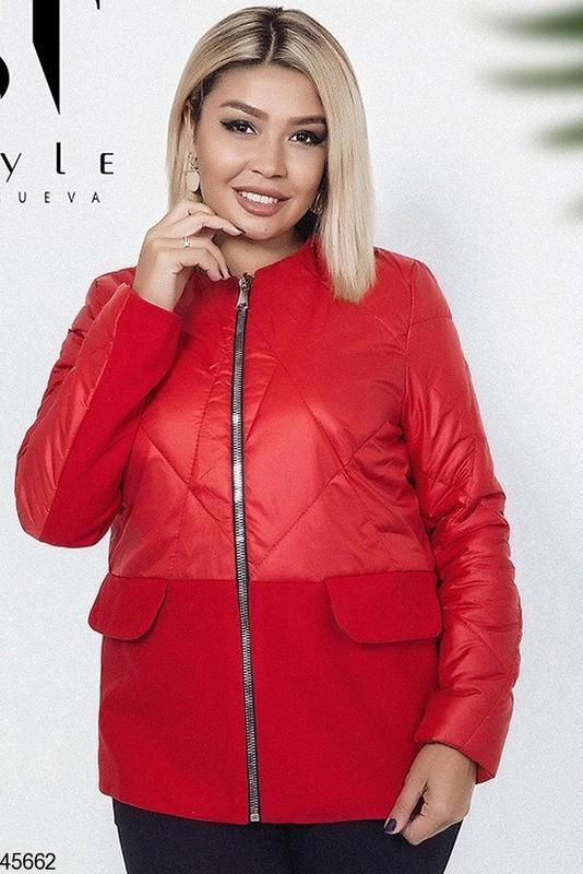 6ff2ca3c21c Куртка женская легкая демисезонная ярко-красного цвета размеры 48