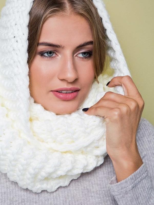 вязаный шарф хомут белый Colins снуд Colins цена 195 грн