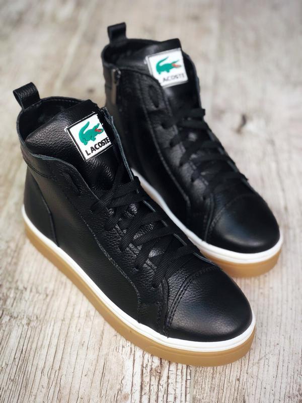 5be7842c18ff Кожаные высокие кеды демисезонные ботинки в стиле lacoste. 36-40 ...