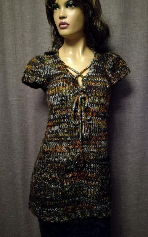 01f457053801 Оригинальная удлиненная кофта, меланжевая нить, туника с укорочеными  рукавами1 ...