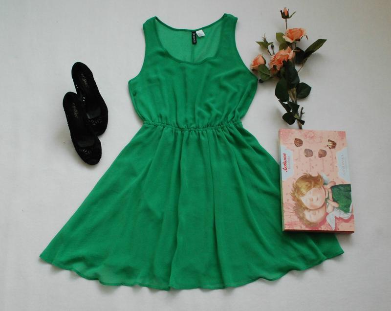 9ff94f342f4 Шифоновое зеленое платье солнцеклеш от h m divided1 фото ...