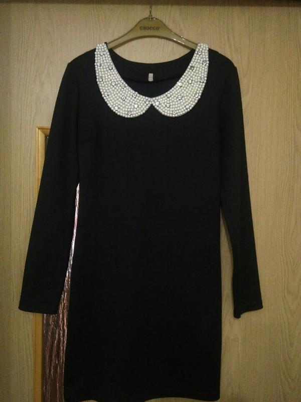 e7c37411a9b Платье чёрное с белым воротником1 фото ...