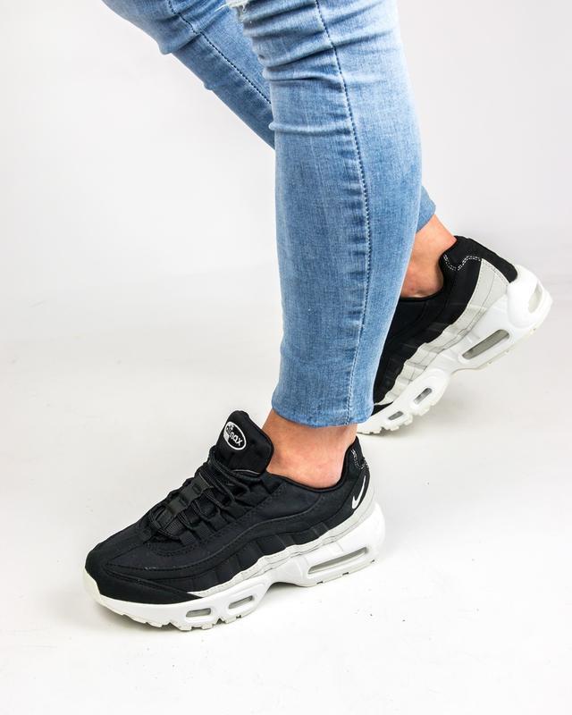 65bd7245 ... 36 37 38 39 40 молодёжные женские кроссовки nike air max 95 black white  белые чёрные2 ...