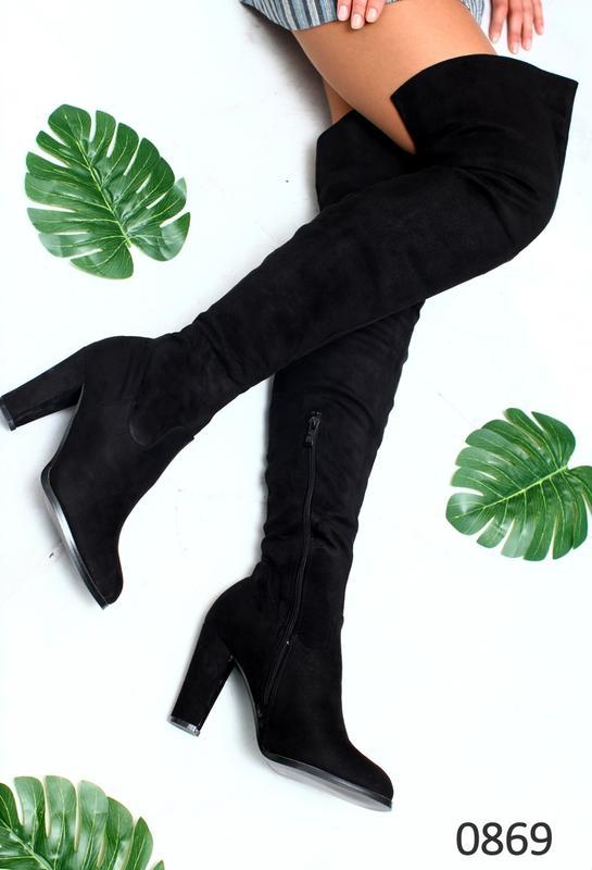 4429bd3f559a Ботфорты женские черные на удобном каблуке 36,37, цена - 499 грн ...