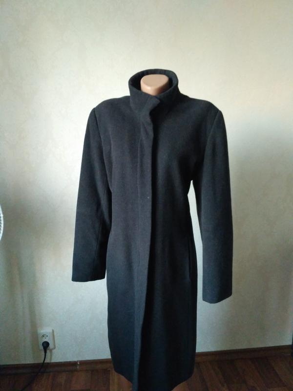 5245635e5e0 Пальто женское классическое прямое ровное чёрное1 фото ...