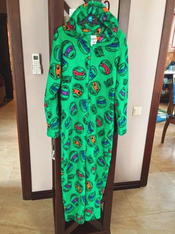 Пижама флисовая сдельная черепашки ниндзя теплый слип для мальчика 9-10  лет1 ... be8a0081c4757