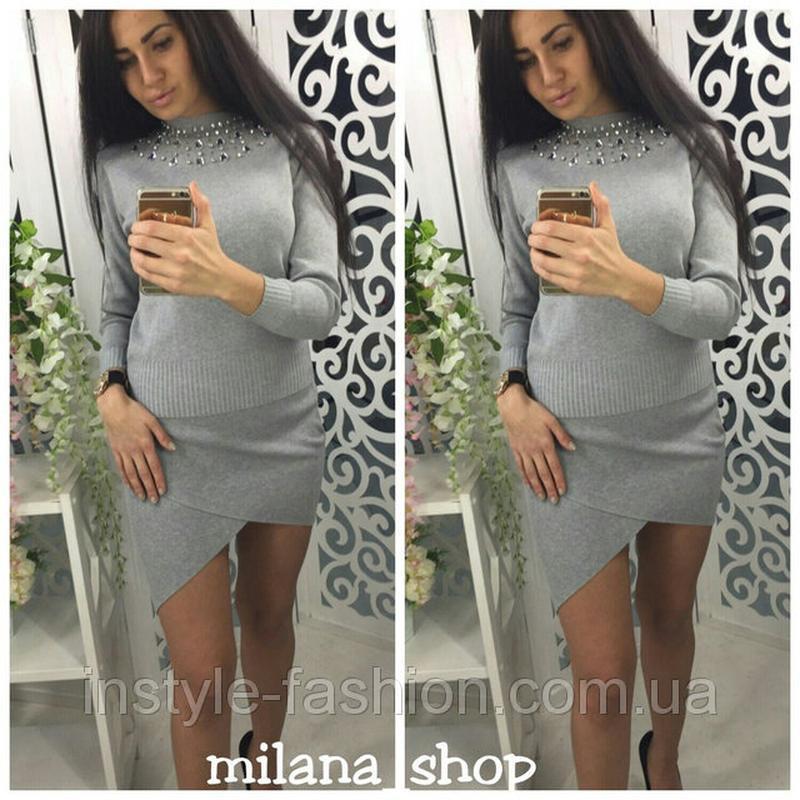 9d92664fa4b9 Женский модный костюм с камнями ткань мелкая машинная вязка серый1 ...